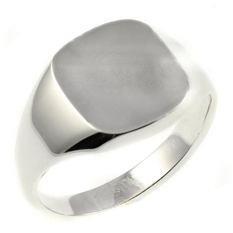 9ct white gold square signet ring