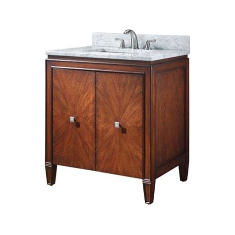 brentwood 31 inch new walnut vanity with white
