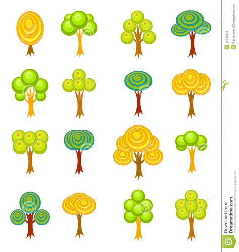 the sixteen trees of cartoon trees icons royalty free stock image image 12749346