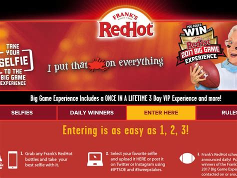 Franks Red Hot Sweepstakes - the frank s redhot selfie your way to the big game experience sweepstakes