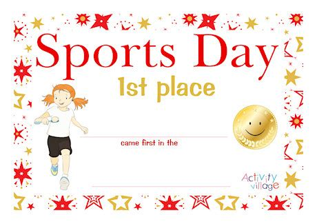 sports day certificate gold