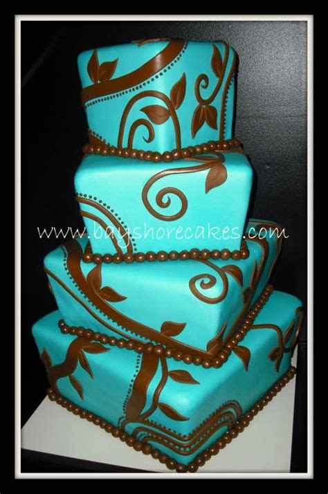 brown and teal teal and brown whimsical wedding cake future ideas