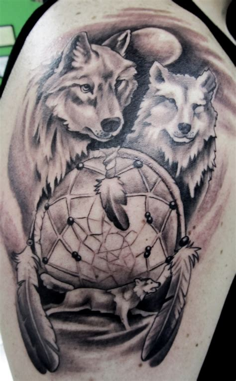 wolf dreamcatcher tattoo wolf tattoos designs ideas and meaning tattoos for you