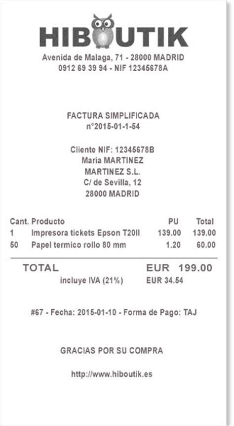 ejemplo de ticket de compra factura simplificada hiboutik software tpv gratis