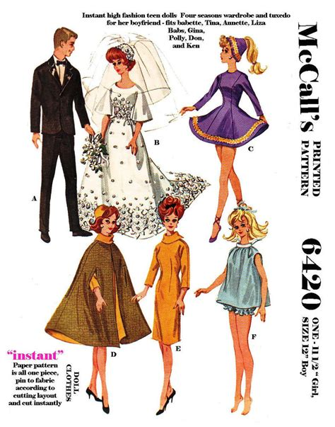 pattern for ken clothes vintage mccalls 6420 barbie and ken doll clothes sewing