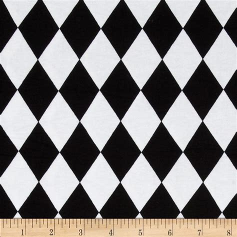 black and white harlequin pattern fabric cotton lycra jersey knit harlequin black white discount