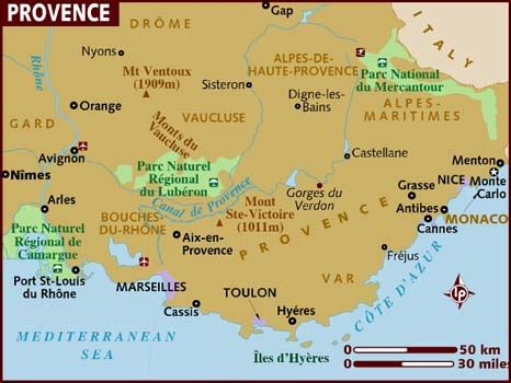 map of provence map of provence