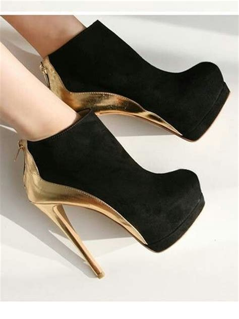 gold and black high heels pin by pearson on shoes