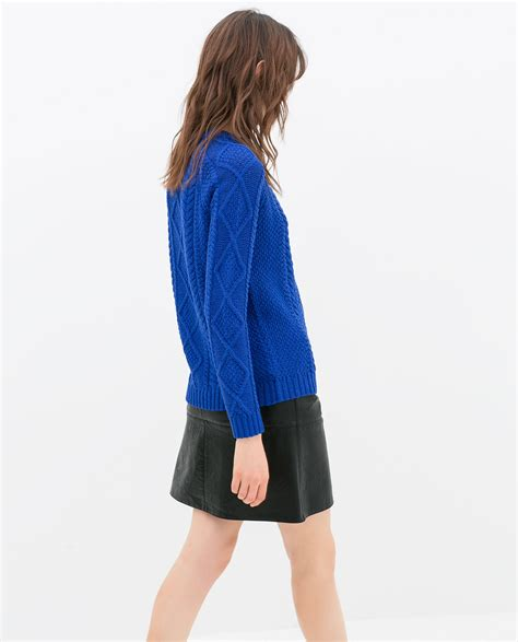zara cable knit jumper zara cable knit sweater in blue lyst