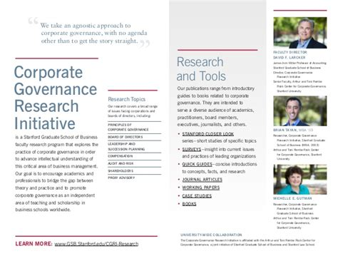 Mba Corporate Governance Notes by Brochure About Stanford Corporate Governance Research