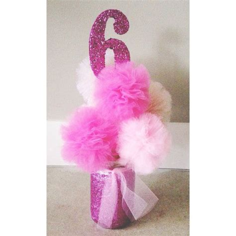 pink princess centerpiece hand glittered pink tulle poms