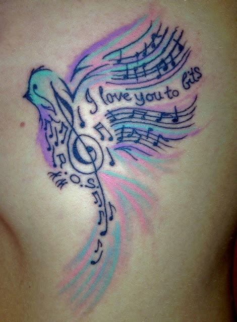 music note bird tattoo colorful bird s and note tattoomagz