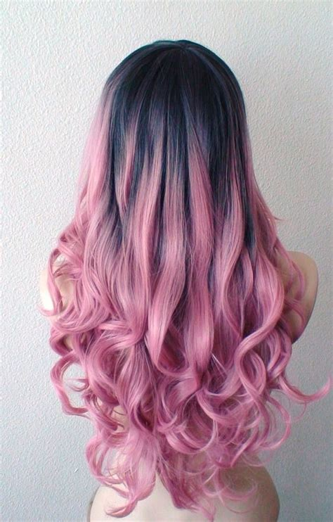 ombre hair coloring milwaukee hand dye dark brown roots pastel blush pink wig mauve