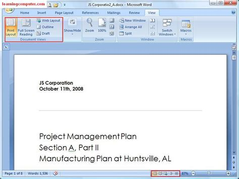 word layout default microsoft word view tab tutorial it computer training
