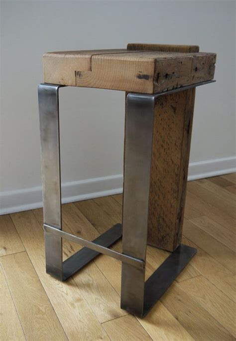 Modern Handmade Furniture - reclaimed wood bar stool industrial bar stool handmade