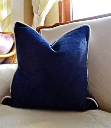 navy blue chenille sofa navy velvet pillow cover navy pillow cover with piping