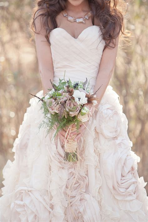 rose themed wedding dress styled wedding shoot woodsy bohemian