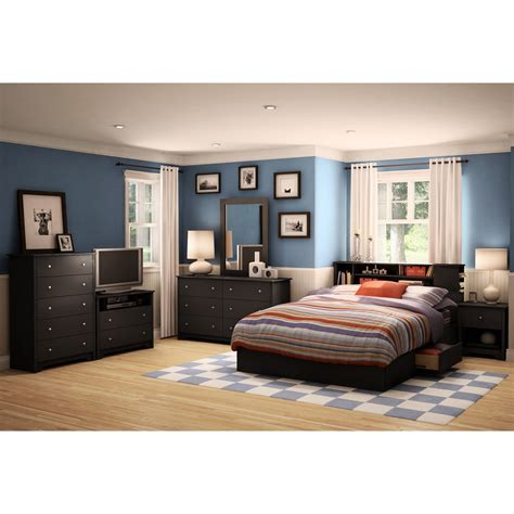 south shore bedroom furniture south shore vito pure black queen mates bedroom set the