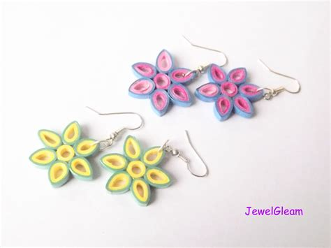 How To Make Earrings At Home With Paper - paper quilled flower earrings tutorial