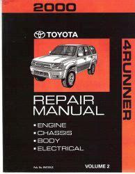 car owners manuals free downloads 2000 toyota 4runner instrument cluster 2000 toyota 4runner factory repair manual 2 volume set
