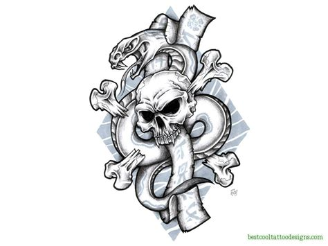 skull and snake tattoo skull designs flash best cool designs