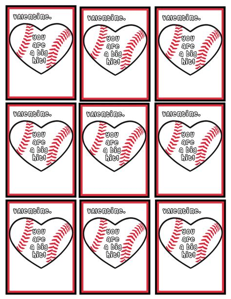 valentines baseball 9 best images of baseball s day cards printable