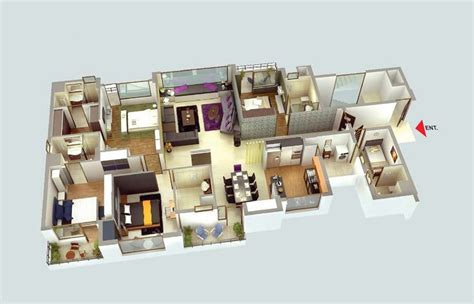 4 Bedroom Floor Plans One Story by Planos Para Apartamentos Con 4 Habitaciones