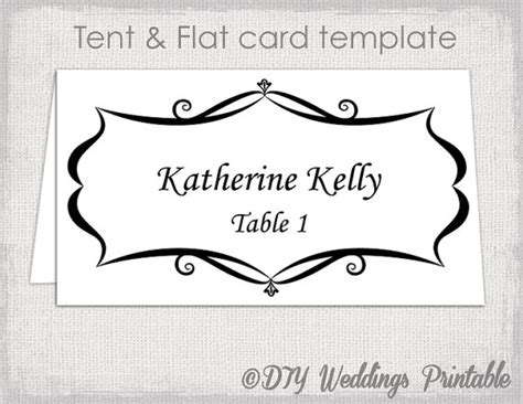 free flat card templates place card template tent and flat name card templates