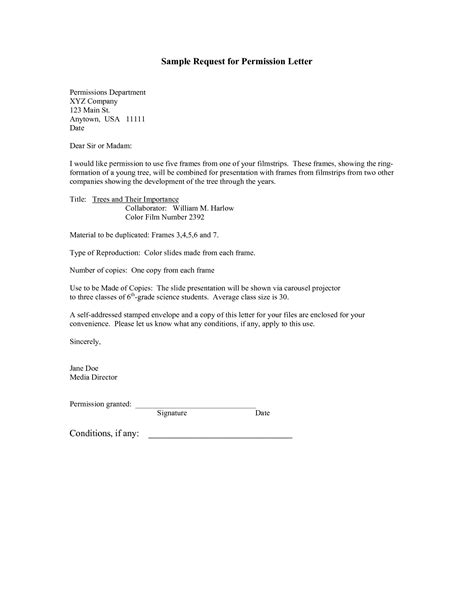 Letter For Research Permission Format Of A Permission Letter Best Template Collection