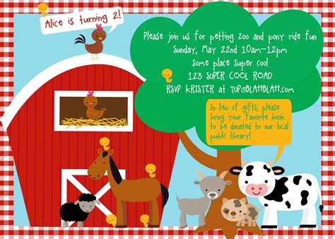 barnyard card template farm birthday invitations template best template collection