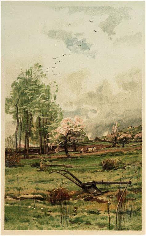 charming vintage farming landscape image  graphics fairy