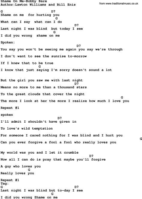 lyrics bobby bare jr bobby bare jr shame on me ceisumpmep mp3