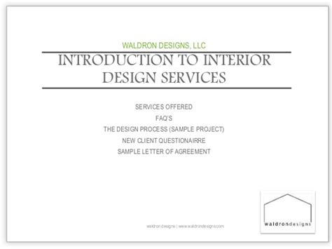 Introduction Letter For Interior Decoration Company Introduction To Interior Design Services