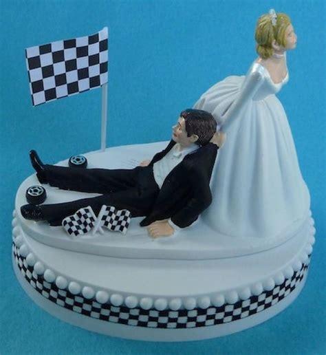 Wedding Cake Topper Checkered Flag Tires Auto Car Racing