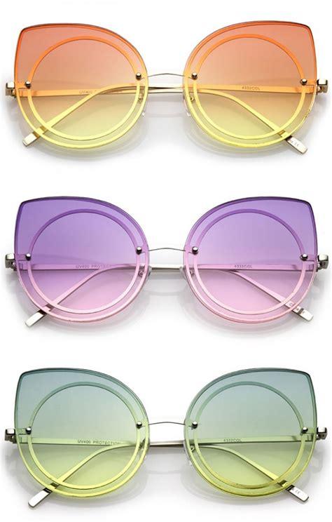 Colored Lens Cat Eye Sunglasses s oversize rimless colored gradient flat lens cat