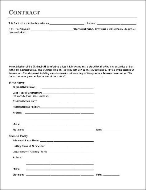 Free Printable Home Improvement Contract Form Generic Simple Home Repair Contract Template