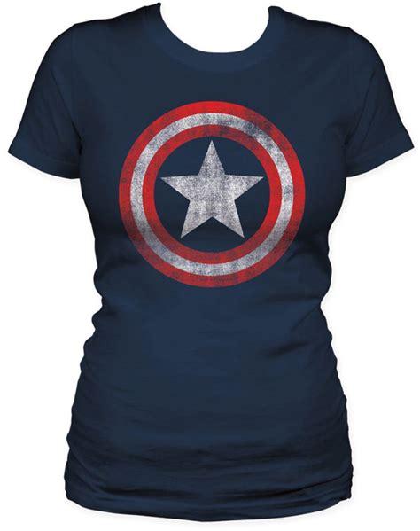 Kaos Captain Navy 01 captain america shield womens s s t shirt in navy