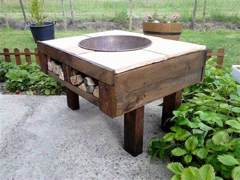 diy firepit table diy pallet pit table with firewood storage