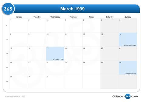 March 1999 Calendar Calendar March 1999