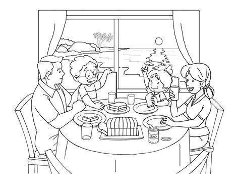 terbaru  gambar mewarnai pemandangan  objek lucu gambar mewarnai keluarga makan sarapan