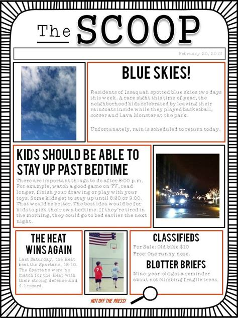 a student newspaper template to use for class writing