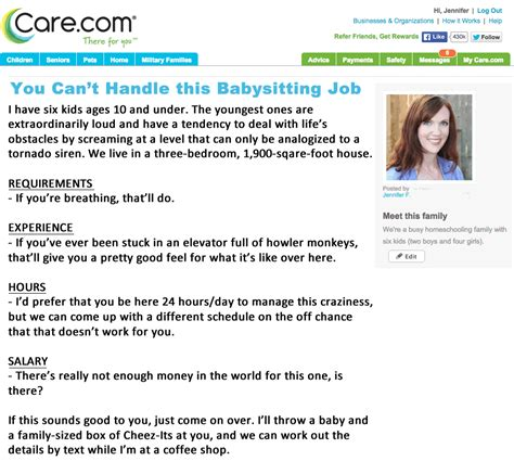 Funny Resume Examples by If My Babysitting Ad Were Honest