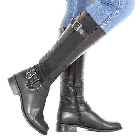 womens slim calf fit chelsea flat knee high casual