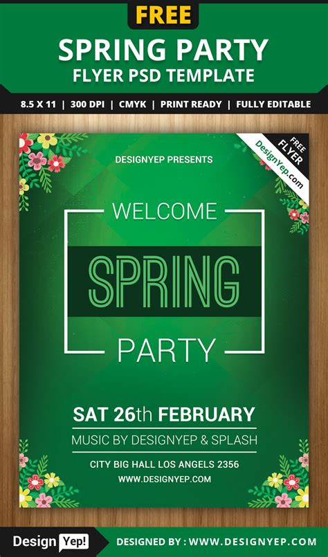 free spring welcome party flyer psd template designyep