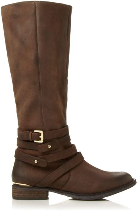 steve madden knee high boots steve madden albany sm buckle knee high boots in brown lyst