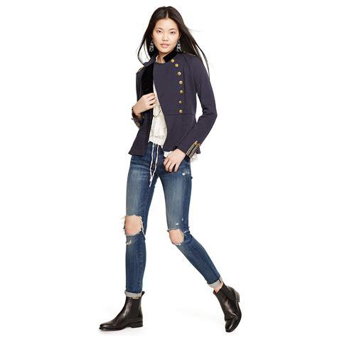 Dress Denim Longhem Denim Belt Tunik Denim lyst denim supply ralph peplum officer s jacket in blue
