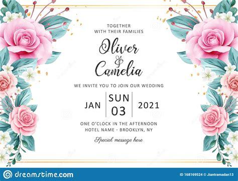 horizontal wedding invitation card template set