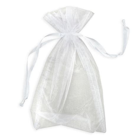 organza gift favor bag with drawstring white 6 x 10 inch