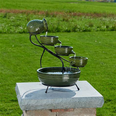 smart solar ceramic solar cascade fountain  green