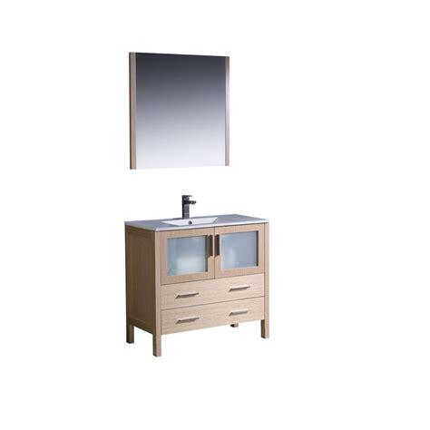 Oak Vanity Light Fresca Torino 36 In Vanity In Light Oak With Ceramic Vanity Top In White With White Basin And